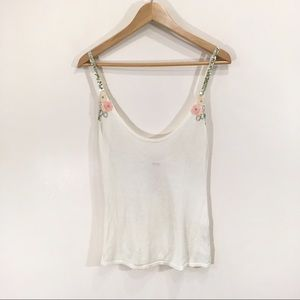 Free People Beaded Sequin Drop Knit Tank Top Large